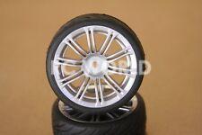 R/C 1/10 Radio Control CAR Wheels SILVER MULTI FAN  w/ Semi Slick TIRES 4PC