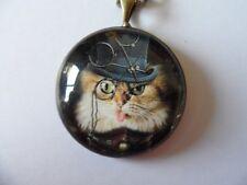 Steampunk Cat Glass Cameo Cabochon Photo Pendant Necklace, Antique Bronze