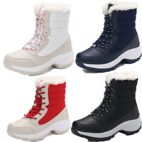 Women Lace Up Fur Lined Thicken Winter Warm Snow Ankle Boots Round Toe Shoes