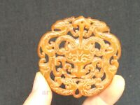 Antique Collection Chinese Jade Carving Sheep Pheni Statue Necklace Pendant Gift