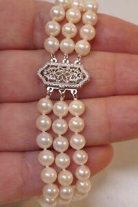 """Vintage 14kt White Gold & Akoya Pearl Multi-Strand Bracelet - 6.75"""" Long"""