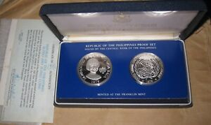 1979 Philippines 2 Coin Proof Set SILVER Fifty Piso Twenty-five  with COA & BOX