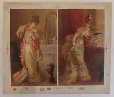 Chromolithographie Femmes Robes Mode XIXème Siècle Testu Massin