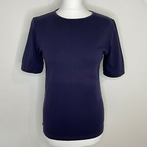 SPIRIT OF THE ANDES 100% Pima Cotton Top Size S Indigo Navy T-Shirt