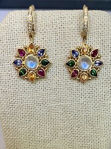Temple St Clair 18K Gold .11ct Diamond, Moonstone, Colored Stone Drop Earrings