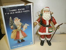 "Santa's World Fabric Mache 7"" H Old World Santa Table Piece with box"