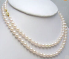 GENUINE 8-7MM AKOYA AAA++ WHITE NATURAL PEARL NECKLACE 36 INCH 14k