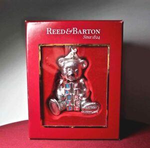 REED & BARTON Teddy Bear Ornament BABY'S FIRST CHRISTMAS Silverplate NIB