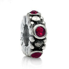 Ruby Red Crystal 925 Sterling Silver Spacer European Charm Bead