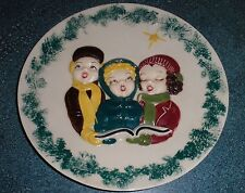 "10"" Christmas Carolers Hand Painted Ceramic Collectible Plate Holland Mold"