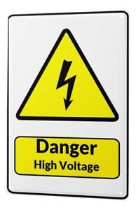 Tin Sign Warning Sign Danger High Voltage lightning symbol black yellow triangle