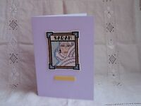 Handmade Cross Stitch Ladies Personalised Birthday Card in Lilac with Envelope