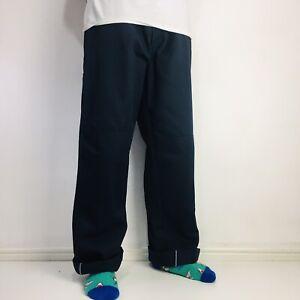 Vintage Dickies Double Knee Chinos Work Trousers Navy W36 L33 Loose Fit