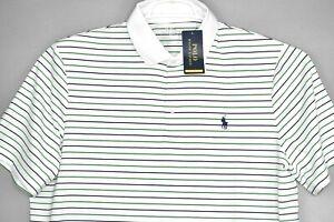 NEW Ralph Lauren Polo Golf Mens Performance Shirt White Blue Green Stripes L $99