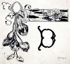 "ANTIQUE Vintage 1890's ART NOUVEAU Sketch Ink Drawing ""D"" MONOGRAM by F E PERRY"