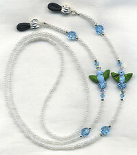 Blue HUMMINGBIRDS & SWAROVSKI Eyeglass~Glasses Holder Necklace Chain CUSTOMIZED