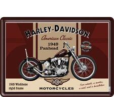 BLECHSCHILD 10198 - HARLEY DAVIDSON 1949 PANHEAD - 10 x 14 cm - NEU