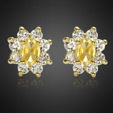 Fashion Jewelry Lady 1 Citrine Fine Clear Topaz Yellow Gold Plated Stud Earrings