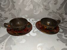Vintage TIN tea cups and saucers TOY or Dollhouse Miniature possibly German