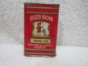 vintage Buster Brown Ground Sage spice tin lot Z