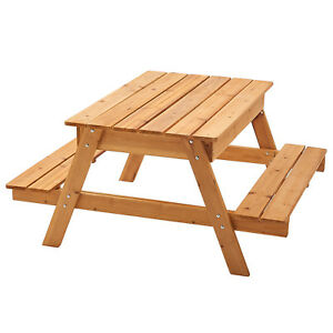 Wooden Sandpit Picnic Table Large enough for up to 4 Children with Rain Cover