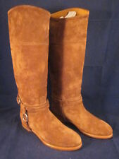 RALPH LAUREN Women Leather Riding Boots Sage Coffee Suede 38.5B 8B/8.5B NEW BOX