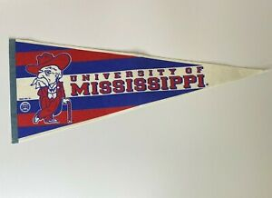 """Vintage University of Mississippi Ole Miss Colonel Reb Pennant 29"""" × 12"""" Trench"""