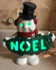 "Ceramic Snowman Black Hat Lighted Christmas Noel - 9"" Holly Leaf"