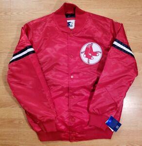 Boston Red Sox Jacket Satin Starter Vintage Throwback Retro Logo Mens Size Med