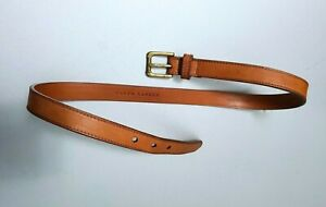 RALPH LAUREN BLUE LABEL MADE IN ITALY CALF-LEATHER BOYS BROWN LEATHER BELT SZ:M