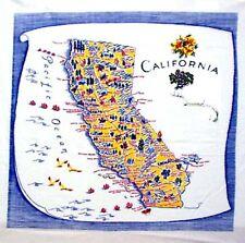 VTG Style CALIFORNIA BLUE Souvenir Flour Sack Kitchen Dish Tea Towel CA Travel