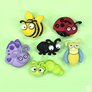 DRESS IT UP Buttons Bug Eyed 6551 - Butterfly Bugs Bees Caterpillar Ladybug