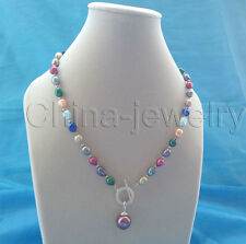 """P6047-19"""" 9-11mm multicolor freshwater pearl + 14mm shell pearl pendant necklace"""