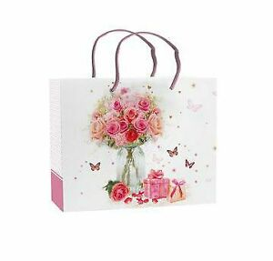 Mother's Day Gift Bag - Flowers & Presents - Medium 22.5cm x 17.5cm Quality NEW