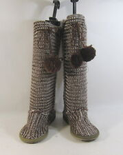 Brown/white   knitting wool flat comfortable  mid-calf boot  US women's.Size. 6