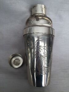 Antique Chinese Wahlee Swatow Silvered Pewter Engraved Dragon Cocktail Shaker