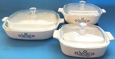 Corning Ware Set of 3 Casserole Dishes Cornflower Blue A-1-B P-1-B P-10-B w Lids