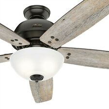 Hunter Fan 60 inch Casual Noble Bronze Ceiling Fan with Light Kit & Remote