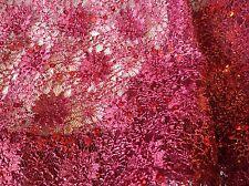 """NUOVO Marrone con filo in pizzo stretch Bordeaux Paillettes Conchiglia bordo tessuto in pizzo 60"""""""