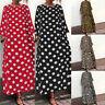 UK Women Summer Polka Dot Beach Dress Ladies A-line Holiday Maxi Dress Size 8-26