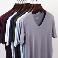 Mens Summer Modal Seamless Classic Casual V-Neck Sport Comfort T-Shirt Top M-3XL