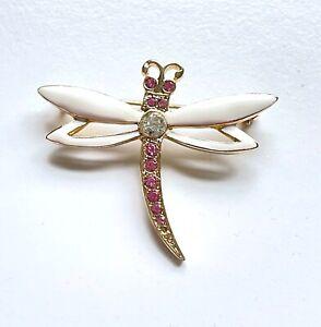 "Vtg GIOVANNI Gold Tone Enamel Rhinestone Dragonfly Brooch SIGNED 1 3/4"" H01"