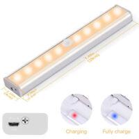 10 LED Motion Sensor Closet Light USB Rechargeable Wireless Under Cabinet Lamp N
