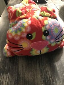 Melissa & Doug Plush Toby Cat Stuffed Animal Kitty Kitten Red Floral Patterned