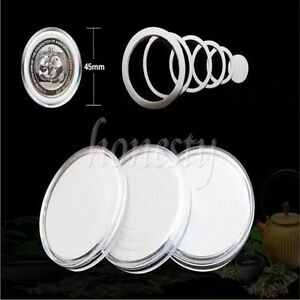 3/10pcs Round Case Coin Capsule Container Box Storage Holder With Inner Pad