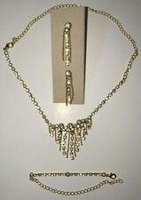 Gold Diamond Jewelry Set Women's Necklace Earring's Bracelet Entire Set!