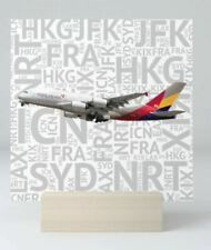 """Asiana Airbus A380 with Airport Codes - 4"""" x 4"""" Mini Art Print"""