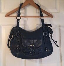 Michael Rome Design Blue Handbag w/ Silver Accents Genuine Leather Zipper Top