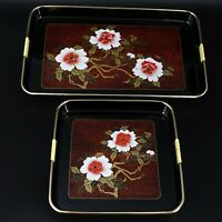 Nesting Trays 2  Vintage Japanese Shiny Black lacquer Ware Gold White Red Floral