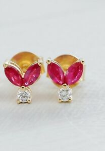 1Ct Marquise Cut Red Ruby Diamond Push Back Stud Earrings 14K Yellow Gold Finish